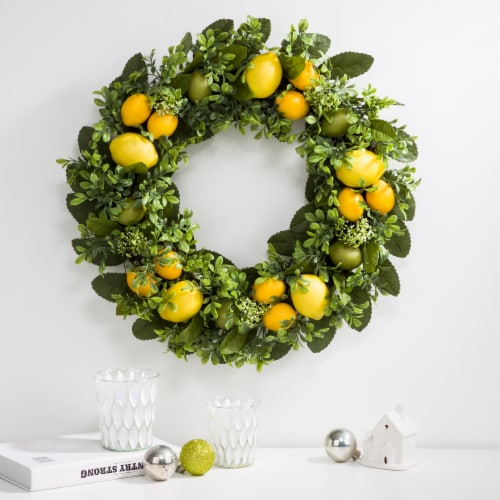 Glitzhome Artificial Greenery with Faux Lemons Wreath Perspective: left