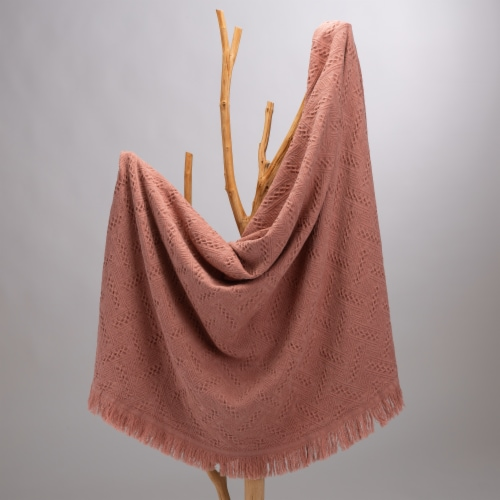 Glitzhome Grid Cotton Woven Tassel Throw Blanket - Coral Perspective: left