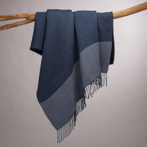 Glitzhome Contemporary Woven Tassel Throw Blanket - Indigo Perspective: left
