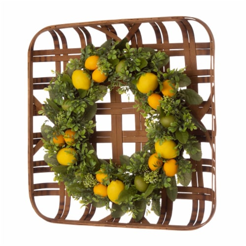 Glitzhome Bamboo Tobacco Basket with Greenery Lemon Wreath Perspective: left