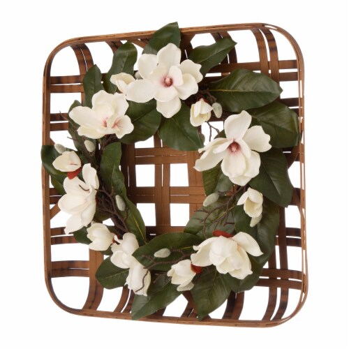 Glitzhome Bamboo Tobacco Basket with Artificial Magnolia Wreath Perspective: left
