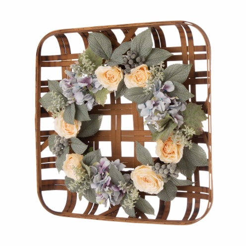 Bamboo Tobacco Basket with Hydrangea Rose Wreath Perspective: left