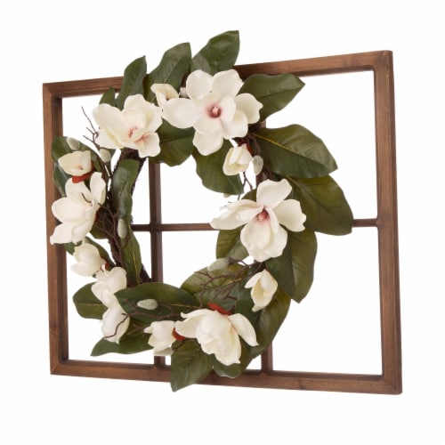Glitzhome Wooden Window Frame with Artificial Magnolia Wreath Perspective: left