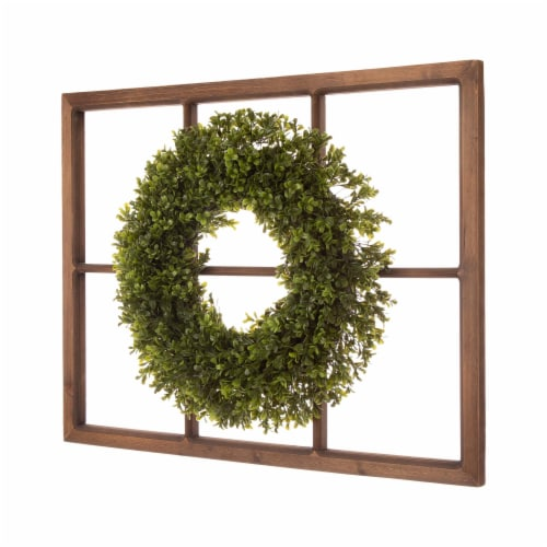 Glitzhome Boxwood Wreath & Wooden Window Frame Decoration Perspective: left