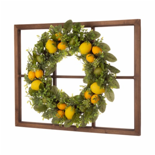 Glitzhome Wooden Window Frame with Greenery Lemmon Wreath Perspective: left