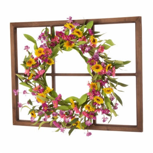 Glitzhome Wooden Window Frame with Artificial Chrysanthemum Wreath Perspective: left