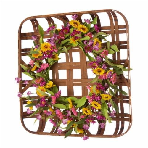 Glitzhome Chrysanthemum Wreath & Bamboo Tobacco Basket Decoration Perspective: left
