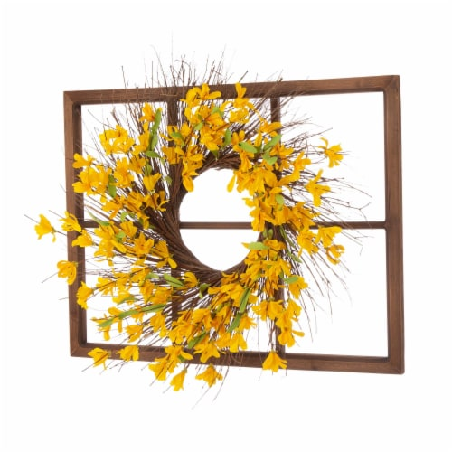Glitzhome Wooden Window Frame With Artificial Winter Jasmine Wreath Perspective: left