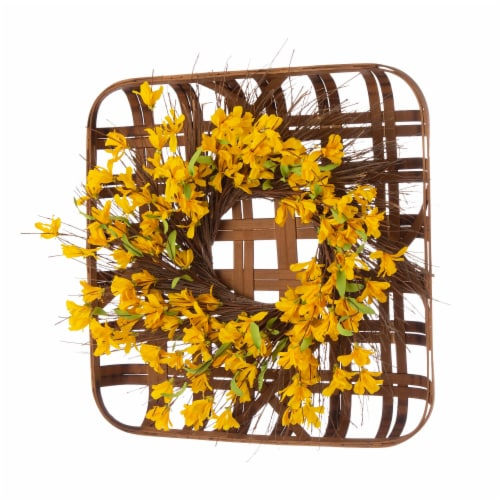 Glitzhome Bamboo Tobacco Basket With Artificial Winter Jasmine Wreath Perspective: left