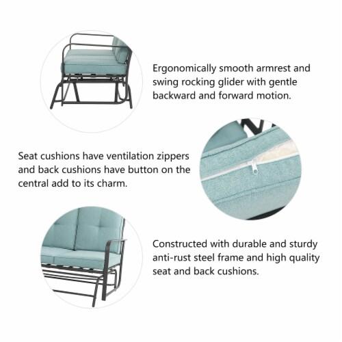 Glitzhome Outdoor Patio Garden Loveseat Glider Chair - Blue Perspective: left
