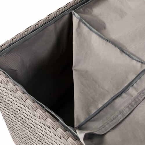 Glitzhome Outdoor Patio Garden Wicker Storage Deck Box - Gray / Cream Perspective: left