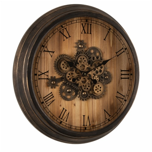 Glitzhome Vintage Industrial Oversized Wooden/Metal Wall Clock Perspective: left