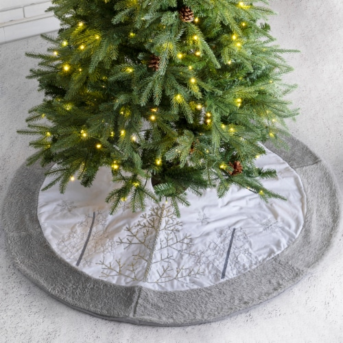 Glitzhome Fleece Christmas Tree Skirt - White/Gray Perspective: left