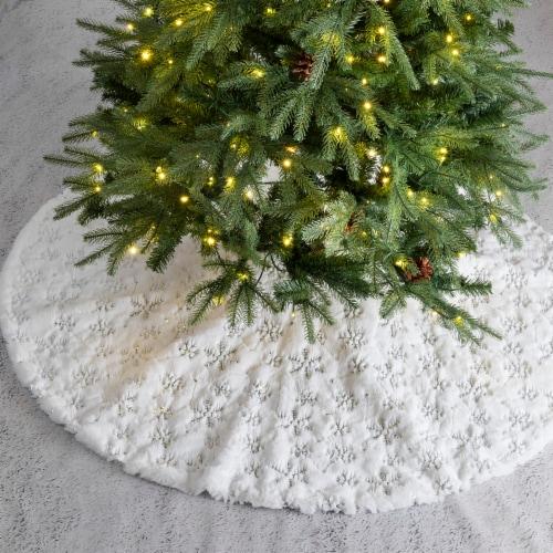 Glitzhome Plush Snowflake Christmas Tree Skirt - White Perspective: left
