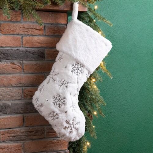 Glitzhome Snowflake Plush Christmas Stocking - White Perspective: left
