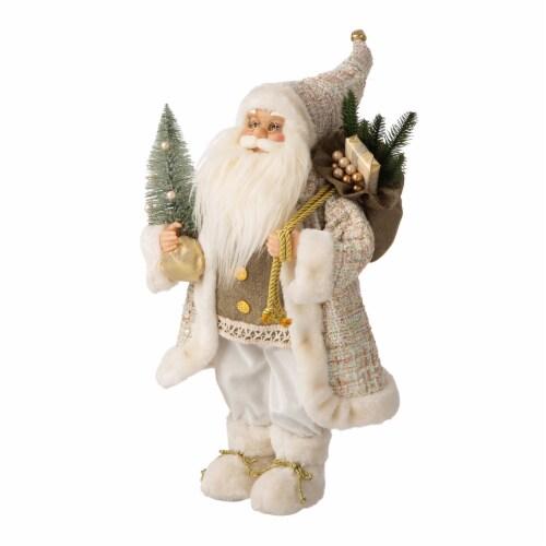 Glitzhome Christmas Santa Figurine - Gold/Silver Perspective: left
