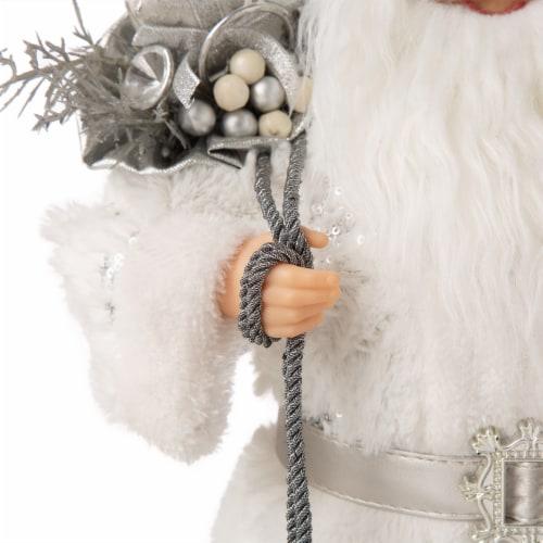 Glitzhome Snowflake Santa Figurine Decoration Perspective: left
