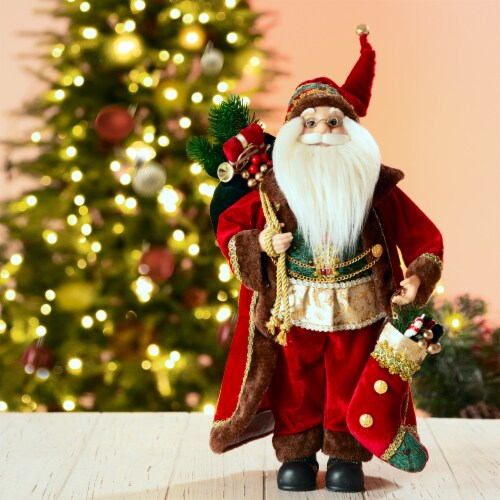 Glitzhome Christmas Santa Figurine - Red Perspective: left