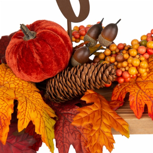 Glitzhome Metal Thankful Cutout Sign Floral Center Piece Perspective: left
