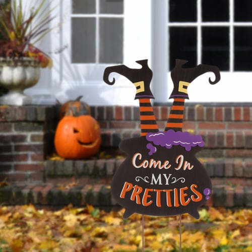 Glitzhome Halloween Wooden Witch Yard Stake Decor Perspective: left