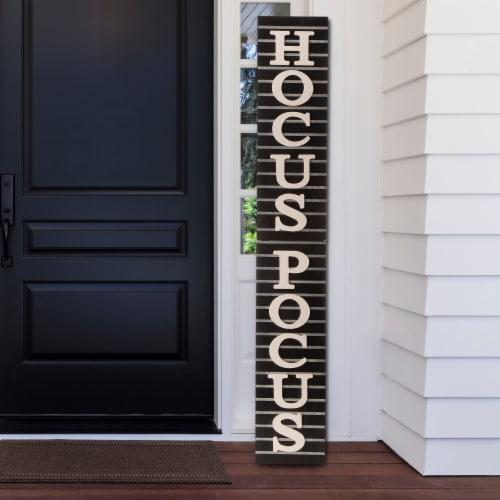 Glitzhome Halloween Wooden Hocus Pocus Sign Decor Perspective: left