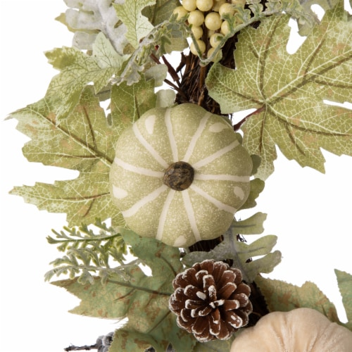 Glitzhome Pumpkin with Green Leaf and Berries Wreath Perspective: left