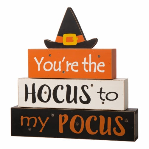 Glitzhome Halloween Wooden Lighted Witch/Word Block Table Décor Perspective: left