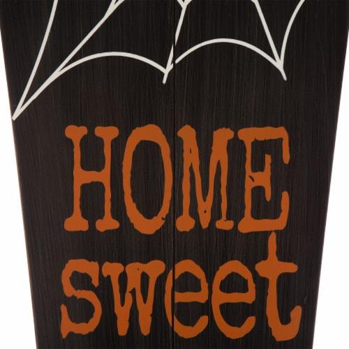 Glitzhome Halloween Wooden Coffin Porch Decor Perspective: left