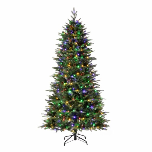 Glitzhome Artificial Fir Christmas Tree with Multicolor LED Lights - Green Perspective: left