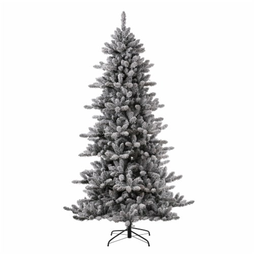Glitzhome Pre-Lit Snow Flocked Fir Christmas Tree with Lights Perspective: left