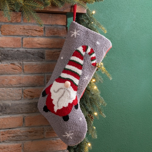 Glitzhome Gnome Design Hooked Stocking Perspective: left