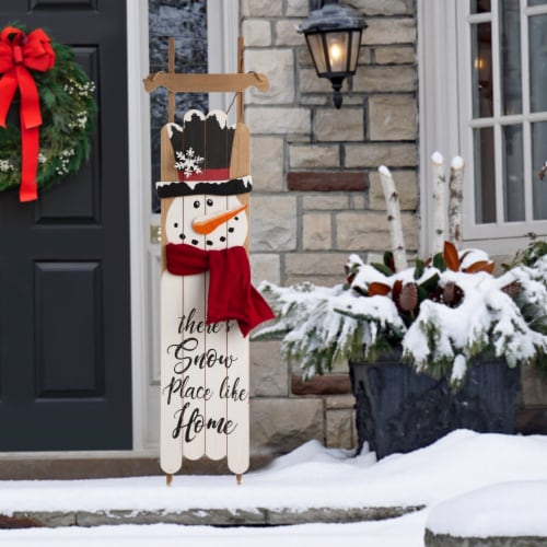 Glitzhome Wooden Christmas Snowman Porch Sign Decor Perspective: left