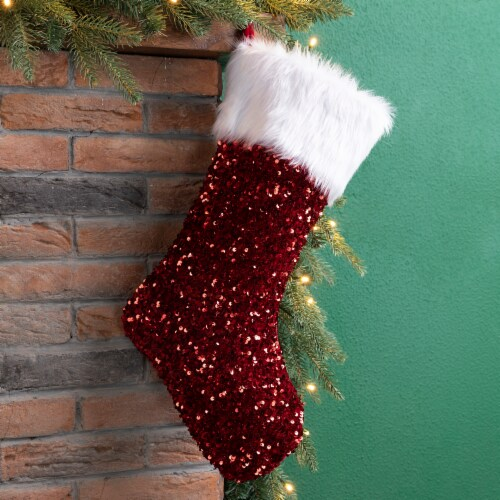Glitzhome Sequin with Faux Fur Cuff Christmas Stocking - Red/White Perspective: left