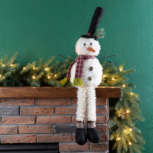 Glitzhome Fabric Christmas Snowman Shelf Sitter with Dangling Legs Perspective: left