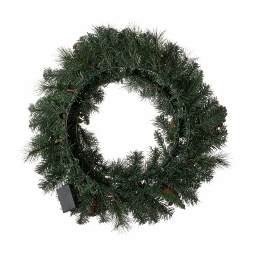 Glitzhome Glittered Pine Cone Christmas Wreath with Warm White LED Lights Perspective: left