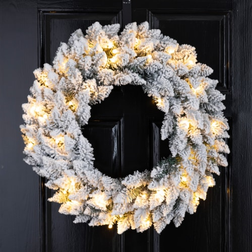 Glitzhome Pre-Lit Warm White LED Snow Flocked Christmas Wreath Perspective: left
