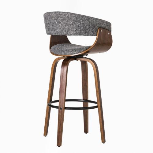 Glitzhome Mid-Century Modern Walnut Swivel Bar Stool Perspective: left
