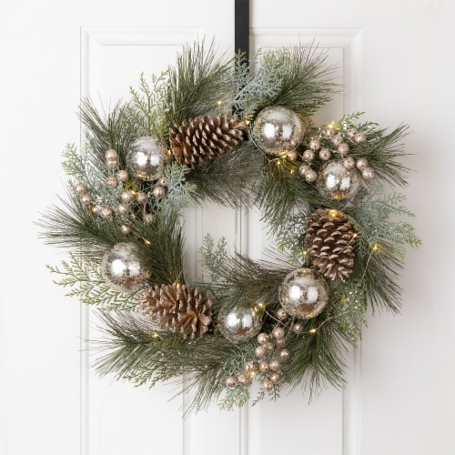 Glitzhome Pre-Lit Berry Holly & Pine Cone Silver Ornament Wreath Perspective: left