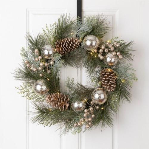Glitzhome Pre-Lit Berry Holly & Pine Cone Silver Ornament Wreath Perspective: left