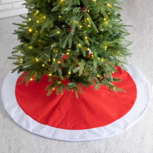 Glitzhome Polyester Christmas Tree Skirt with Faux Fur Cuff - Red/White Perspective: left