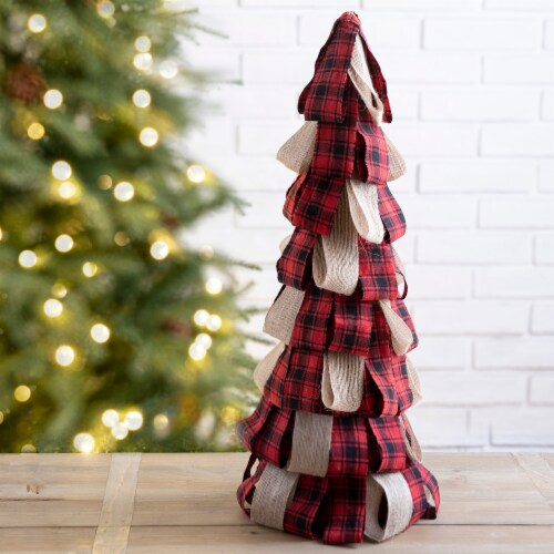 Glitzhome Plaid Fabric and Burlap Christmas Table Tree - Red Perspective: left