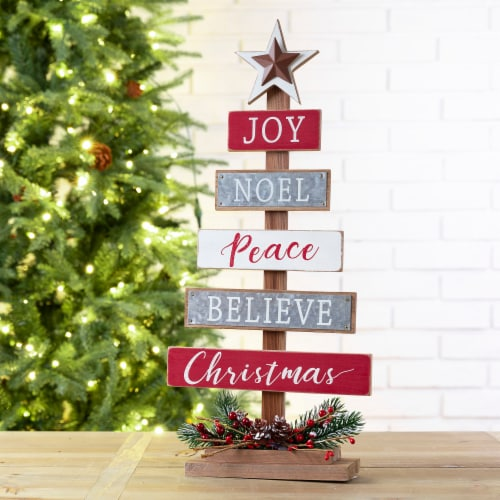 Glitzhome Wooden Christmas Tree Table Decoration Sign Perspective: left