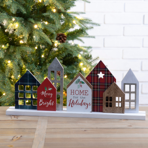 Glitzhome Metal & Wooden Christmas House Table Decoration Perspective: left