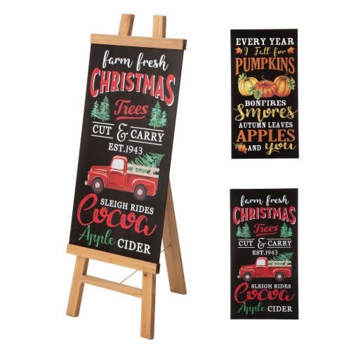 Glitzhome Double Sided Wooden Easel Porch Sign Perspective: left