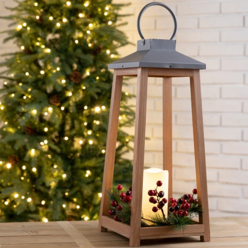 Glitzhome Wooden Metal LED Pillar Lantern Perspective: left