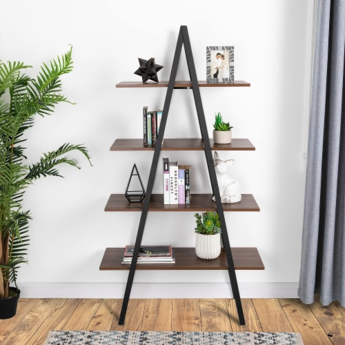 Glitzhome Metal & Wooden 4-Tier Bookcase and Ladder Shelves - Black / Walnut Perspective: left