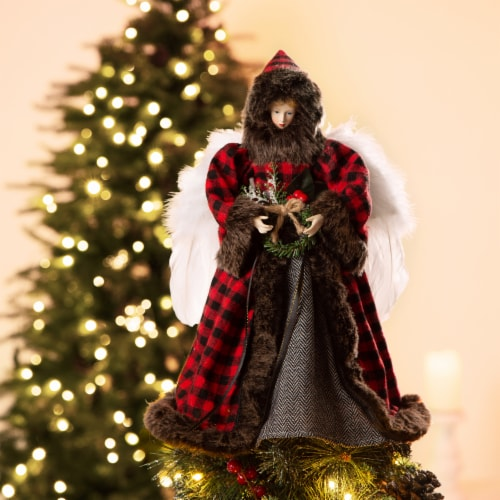 Glitzhome Plaid Angel Tree Top Figurine Perspective: left