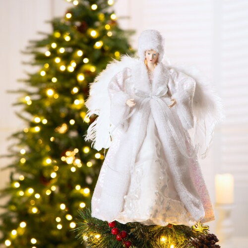 Glitzhome Faux Fur Christmas Angel Tree Topper - White Perspective: left
