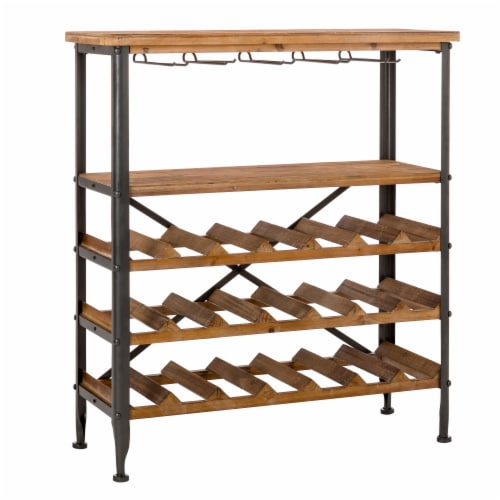 Glitzhome Vintage Wooden Wine Bottle and Glass Rack Perspective: left