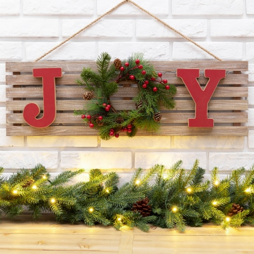 Glitzhome Joy & Berry Pine Wreath Wooden Wall Sign Perspective: left